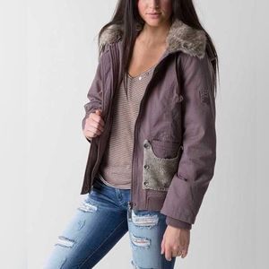 BKE Outwear Taupe Washed Canvas Hood Jacket Small